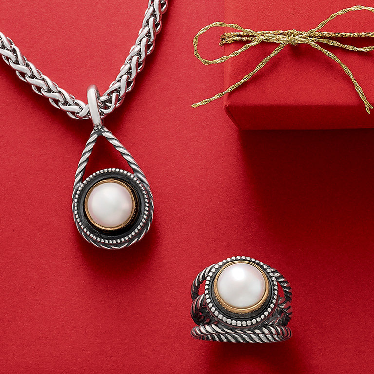 The new Marjan Pendant and matching Marjan Ring with cultured pearls.