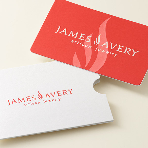 A coral James Avery gift card and envelope.