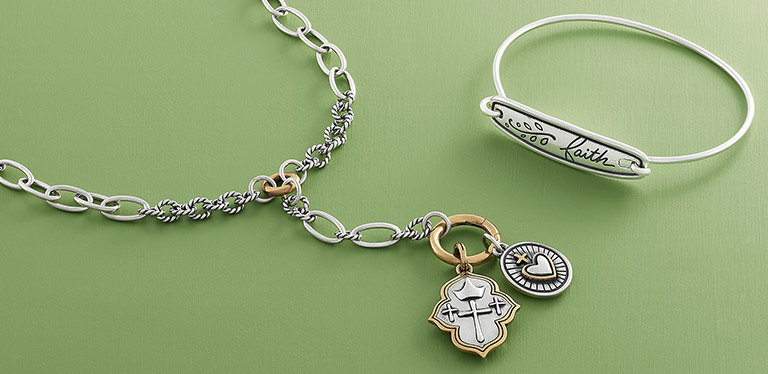 An assortment of new faith-inspired designs in sterling silver and bronze.