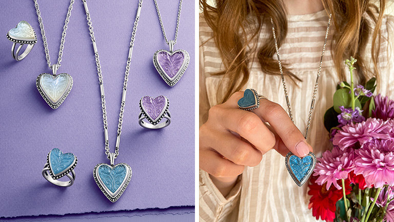 The new sterling silver Sculpted Heart & Tulips Collection with white, blue and purple layered gemstones. A woman wearing the new Sculpted Heart & Tulips Blue Triplet Ring and Pendant.