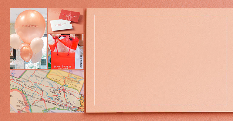 Map of Texas, baloons, James Avery branded coral shopping bag, and gift card