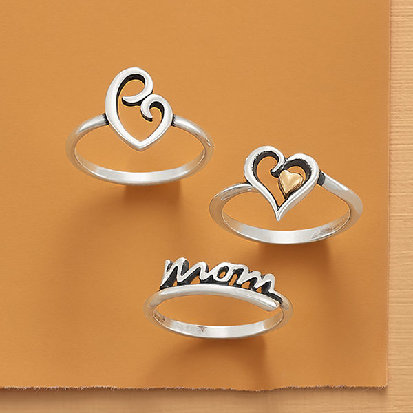 An assortment of heart and mom-inspired rings.