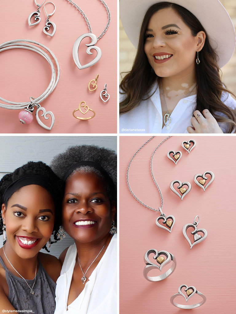 An assortment of the Mother's Love and Delicate Mother's Love Collection in sterling silver and 14K gold.