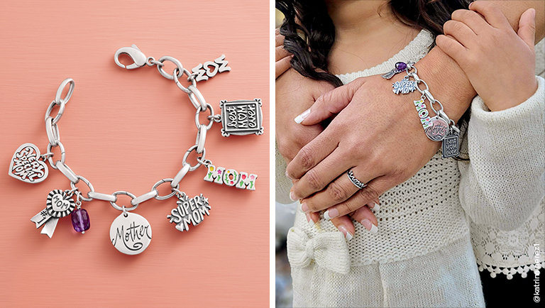 An assortment of Mom-themed charms on a sterling silver charm bracelet.
