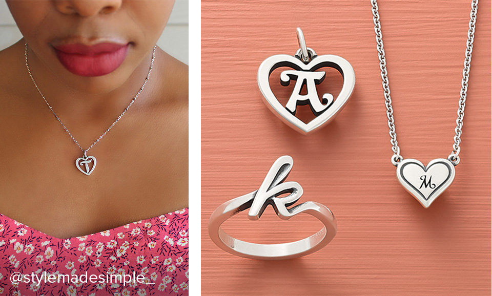 Woman wearing the Heart Script Initial Charm on a chain and an assortment of initial designs.