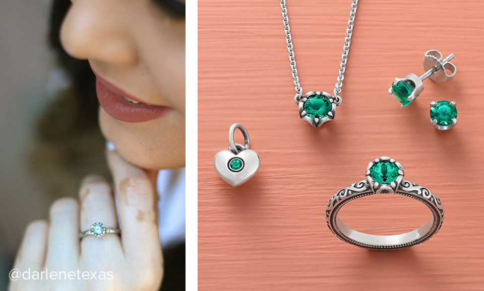 Woman wearing the Cherished Birthstone Ring with blue topaz. An assortment of colorful James Avery birthstone designs.