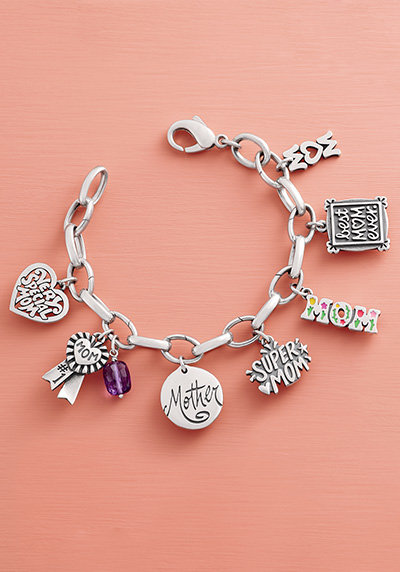 A Changeable Charm Bracelet shown with multiple charms.