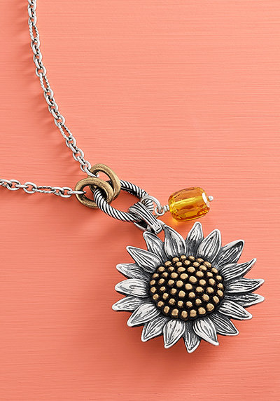 A charm holder necklace with a pendant and charm.