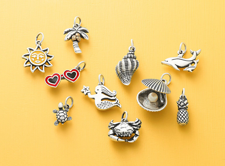 An assortment of summer and beach-themed charms.