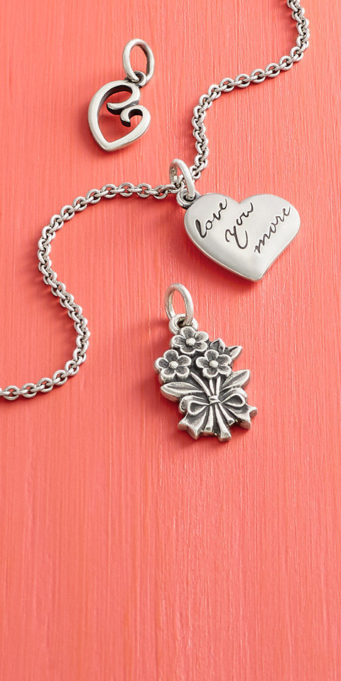 An assortment of heart and flower charms.