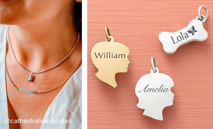 A woman wearing the Engravable Horizon Necklace with a custom, personal engraving layered with another necklace. An assortment of engravable charms in sterling silver and gold.