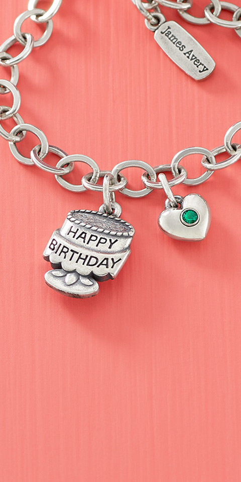 Charm bracelet with the sterling silver Tiny Birthday Cake Charm.