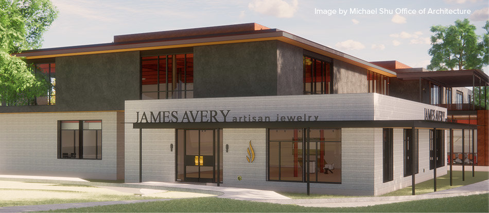 A rendering of the James Avery Cedar Park store