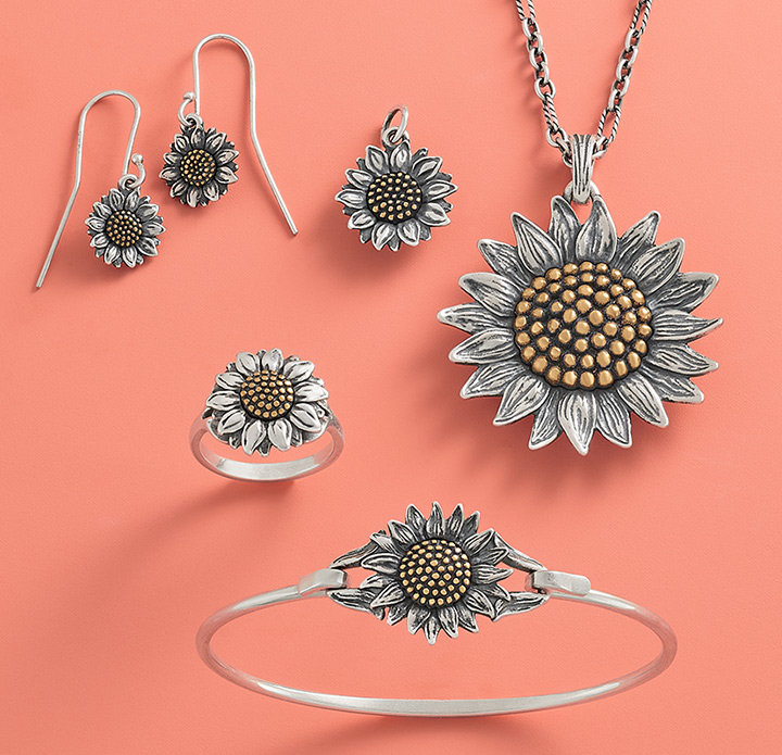 An assortment of the Wild Sunflower Collection in sterling silver accented with bronze.