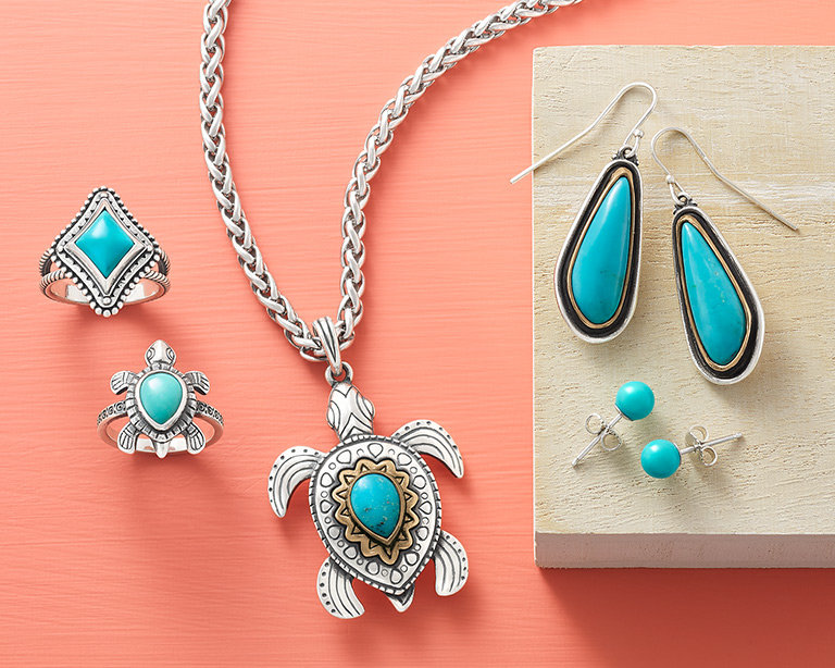 An assortment of designs featuring turquoise gemstones.