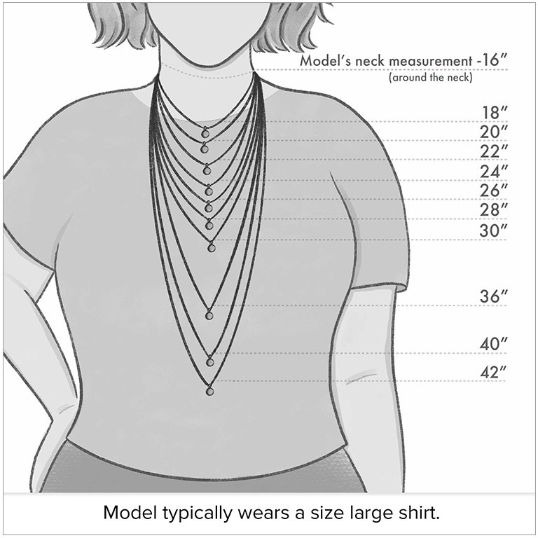 Diagram of necklace lengths on a model who typically wears a size large shirt and has a 16 inch neck measurement. Lengths on model start at 18 inch (chocker-style fit).