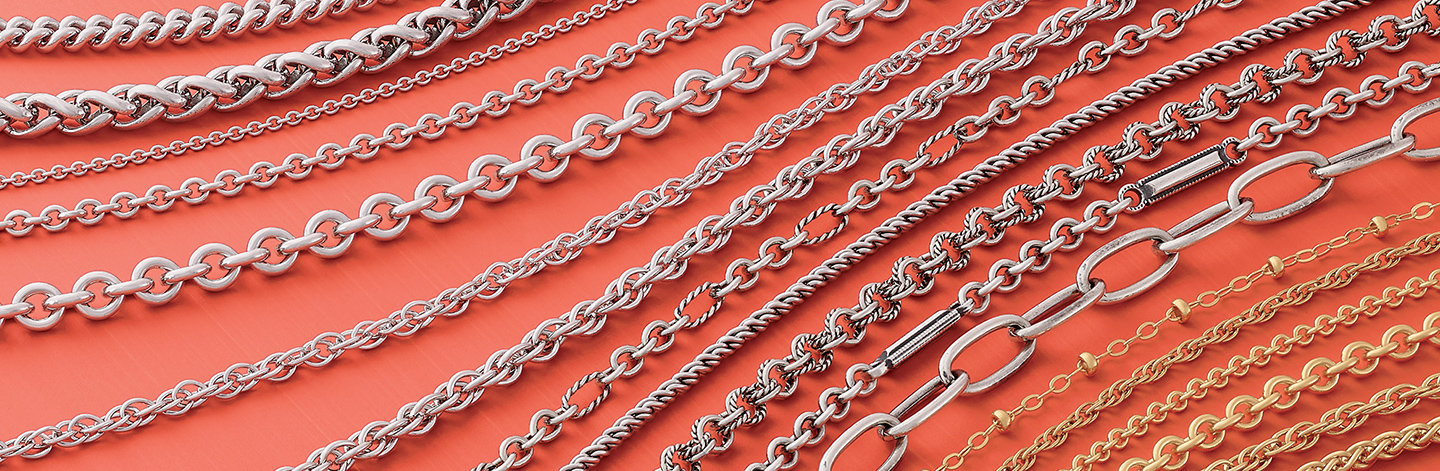 A closeup of chain links in sterling silver and 14K gold.