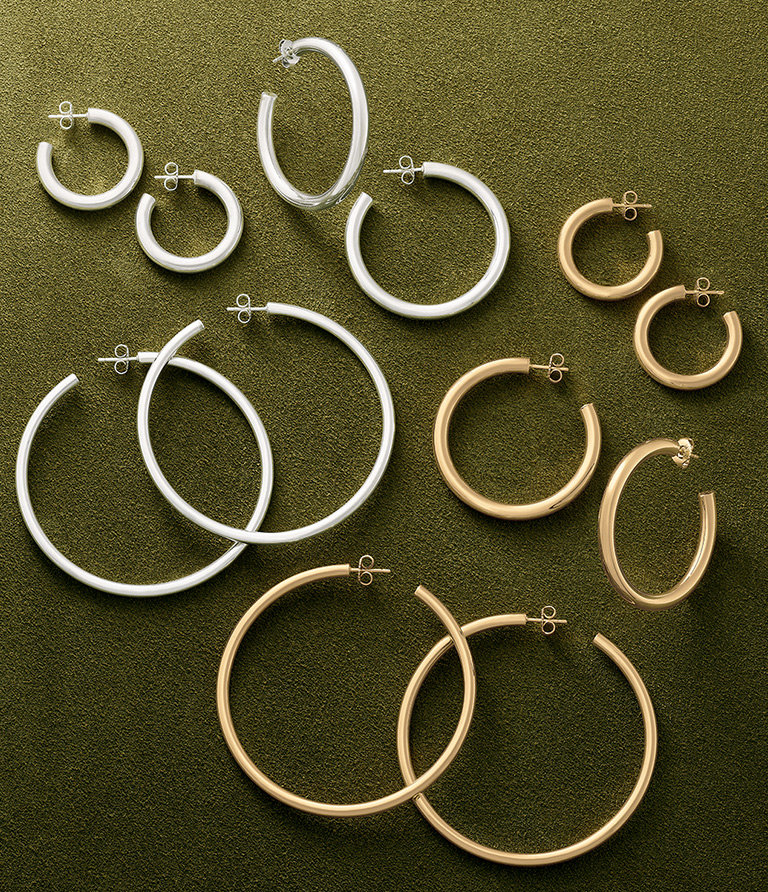 The Fiesta Hoops shown in three sizes and in two metals, sterling silver and 14K gold.