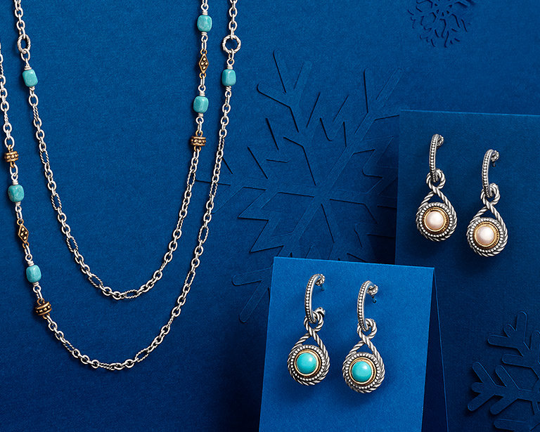An assortment of new designs for Christmas featuring sterling silver, bronze, turquoise and pearls.
