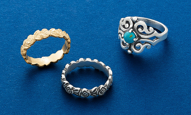 An assortment of new rings in sterling silver and 14K gold.