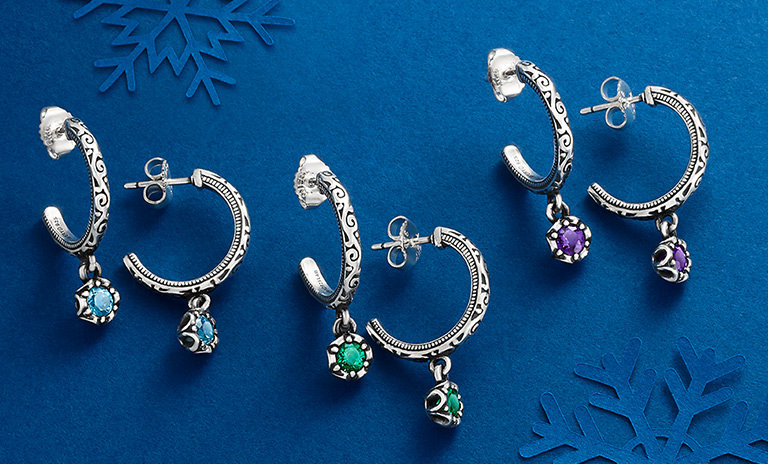 The new Cherished Birthstone Hoops in an assortment of colorful gemstones.